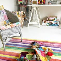 Everyone seems to be busy doing their own thing this morning.so I've snuck in here. I've bought another chair down now, for when guests pop in. Ssh, don't tell anyone I'm here. Vintage Sheets, Kids Rugs, Chair, Colouring, Instagram Posts, Stuff To Buy, Rooms, Pop, Garden