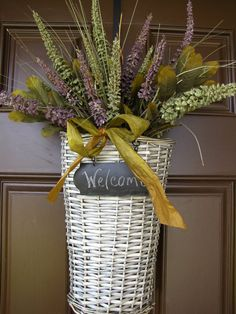 Fall/Autumn Hanging Welcome Basket with by TheWrightWreath on Etsy, $55.00