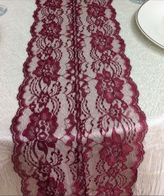 Wine Lace Table Runner Wedding Table Runner by LovelyLaceDesigns, $11.95