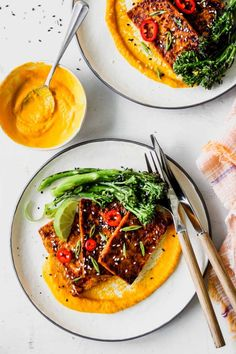 Honey-Soy Glazed Tofu with Carrot-Ginger Sauce