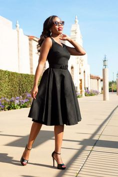 50s Havana Nights Dress With 3 4 Sleeves In Black Sateen