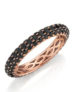 Three row pave set black diamond eternity band in rose gold, $1,300; henridaussi.com.