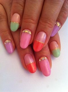 gold glitter and pastels #Nails Nail Art www.finditforwedding.com