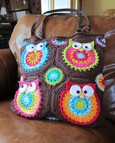 CROCHET PATTERN  Owl Tote'em  a CoLorFuL owl tote  by TheHatandI, $6.00