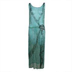 1920's Turquoise Silk Chiffon Beaded Dress