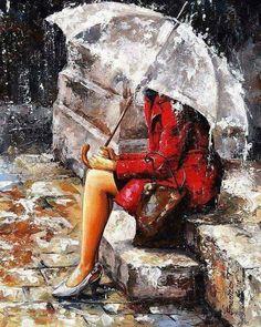 Esperé.  Esperé por ti, con el alma triste a cuestas, dibujando  tempestades  y nubes rotas , esperando  que apareciera  tu rostro  abrazando  primaveras, Solo lluvias llegaron, otras, que no lograron conocernos. Esperé por ti , junto al aguacero  que desencadenó las tormentas  de mis  pensamientos. Te esperé  no llegaste. El paraguas  no logro cubrir  las lágrimas, que sucumbieron a mi pena.  Viviana Vasquez Morales Otoño 2018 Todos los  derechos reservados.