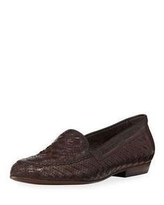 Sesto Meucci Nellie Woven Perforated Loafer Dark Brown #flats