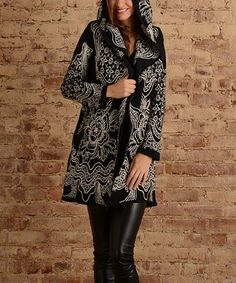 Loving this Black Floral Embroidered Hooded Cardigan on #zulily! #zulilyfinds