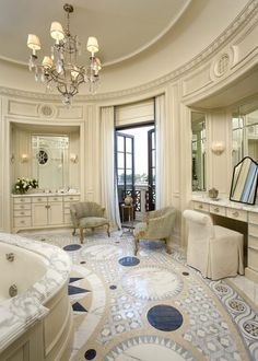 Mirrors at vanities Vanities - wall to wall still look like furniture