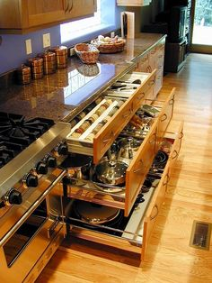 Cabinets that are drawers! Easy Storage, Pot Storage, Drawer Storage, Storage Ideas, Kitchen Ideas For Storage, Kitchen Spice Storage, Kitchen Organization, Storage Organization, Pantry Ideas