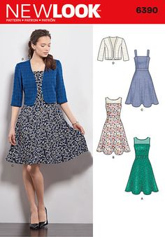 misses' dresses with full skirts can have sheer neckline with optional bow at waist, or thick straps. pattern also includes bolero with princess seams to take this dress into transition seasons. new look sewing pattern.