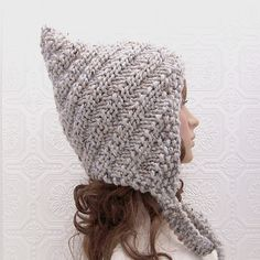Pixie hat hand knit swirl hat gray