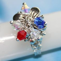 "Patriotic Red White & Blue ""Sparkler"" Ring in Silver Sizes 5-10 by Maru"
