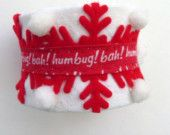 Cheery Bah Humbug Cuff // Red - White // Layered Textiles // Christmas Holiday Season Fashion Accessory // CIJ