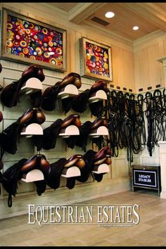 The tack room at Legacy Stables from Equestrian Estates Magazine. Dream Stables, Dream Barn, Horse Stables, Horse Farms, Tack Room Organization, Horse Show Ribbons, Horse Ribbon Display, Horse Tack Rooms, Horse Property