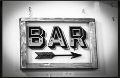 Hand Painted Sign - Bar - Recycled Vintage Wood Window - Window Art - Signpainting - Bar Art - Classic Sign. $160.00, via Etsy.