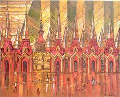 Paw Oo Thett (1936-1993), A Scene on the  Shwedagon  Terrace (1967)