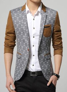 Trendy Lapel Classic Hit Color Exquisite Patch Pockets Long Sleeves Slim Fit Printed Blazer For Men