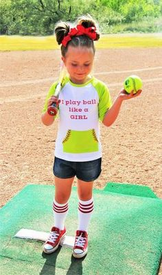 """SOFTBALL """"I Play Ball Like a Girl"""" 3/4 Sleeve Top 