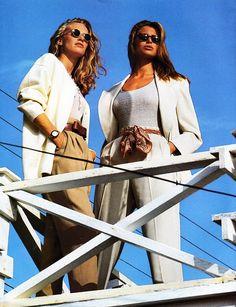 """Shifting into Neutral"", ELLE US, January 1992 Photographer: Gilles Bensimon Models: Kim Melander and Niki Taylor"