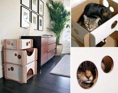 Геометрическая кошка дома : настенный Кошкин дом