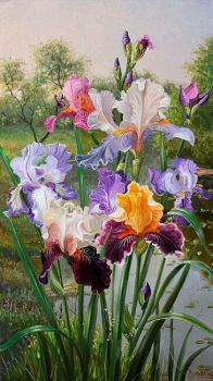 kosatce v obraze...irises in the painting ... (66 pieces)