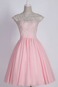 Elegant Prom Dress,Beaded Short Homecoming Dress,Pink Prom Gown
