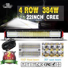 9D Quad-Row 38400LM CREE 22'' LED Light Bar Flood Spot Driving + Wiring Harness