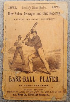 Antique Original Rare 1871 Beadle's Dime Baseball Guide Henry Chadwick Vintage