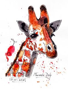 Giraffe High on Fruit Juice. A playful pen and wash sketch by Marinda Daly. A4 size. Sketched with black pen and brought to life with Daler Rowney Artists' Water Color paints. Line and wash. Ink and wash. Pen and watercolor. Ink and watercolor.