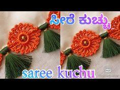 Saree Kuchu New Designs, Saree Tassels Designs, Kurti Neck Designs, Blouse Designs, Crochet Flower Tutorial, Crochet Flowers, Rangoli Designs Peacock, Crochet Border Patterns, Kanchipuram Saree
