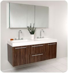 """Fresca FVN8013 Opulento 54"""" Wall Mounted Vanity Set with MDF Cabinet Acrylic To Walnut Fixture Vanity Double"""