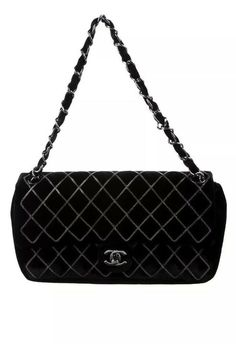 a50f1ec644e8d3 CHANEL Velvet Black Single Flap Chain Stitch Bag Card, Dust bag #CHANEL  Black Singles