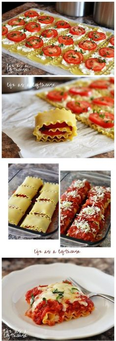 Caprese Lasagna Roll Ups Yield: 8 servings Ingredients 8 lasagna noodles, uncooked 14 oz freshly shredded, low-moisture part skim Mozzarella cheese, divided 3/4 cup Ricotta cheese 1 large egg white 1/3 cup freshly, finely shredded Parmesan cheese (about 1 1/4 oz) freshly ground black pepper 3 – 4 medium Roma tomatoes, thinly sliced (about 1/6 …