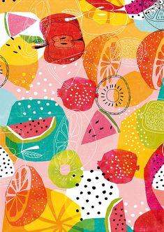 Fruit Pattern, Pattern Art, Pattern Design, Print Patterns, Fun Patterns, Summer Patterns, Painting Prints, Wall Art Prints, Art Paintings