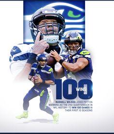 Seahawks Football, Seattle Seahawks, Ciara And Russell Wilson, 100 Games, Nfl History, Peyton Manning, Seasons, Baseball Cards, Sports
