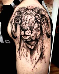 Aries Tattoo Designs for all the Aries People out there Bull Tattoos, Head Tattoos, Animal Tattoos, Sleeve Tattoos, Aries Symbol Tattoos, Aries Ram Tattoo, Symbolic Tattoos, Black Sheep Tattoo, Widder Tattoos