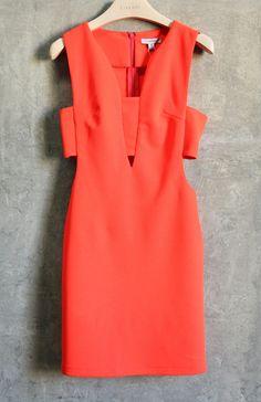 Perfect coral cutout dress