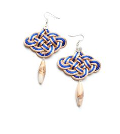 Knotted Rattail Chandelier Earrings Blue and Wheat by elfinadesign