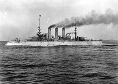 June 13, 1906: USS Georgia Battleship BB-15 on sea trials. USS Georgia (BB-15) was a United States Navy Virginia-class battleship. Georgia was launched by the Bath Iron Works of Bath, Maine on 11 October 1904, sponsored by Miss Stella Tate, sister of Georgia Congressman Farish Carter Tate and commissioned at Boston Navy Yard on 24 September 1906, Captain R. G. Davenport in command.