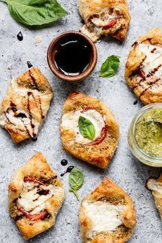 Pesto Caprese Puff Pastries - Danilicious Puff Pastries, Puff Pastry Recipes, Appetizers For Party, Appetizer Recipes, Homemade Pesto, Dried Figs, Party Dishes, Fresh Mozzarella, Food Processor Recipes