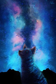 It's been so good drawing wolves again.. And starry, colorful skies <3 This is inspired, or a, Canis Lumen by areot.. I haven't quiet decided yet, ahaha But I love the species, and I think I wan...