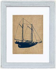 Wood Framed Burlap Print of a Schooner Sailboat Framed Burlap, Nautical Wall Decor, Printing On Burlap, Sailboat, Wall Prints, Vintage World Maps, Fiber, Shabby Chic, Rustic