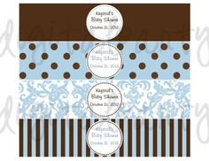 Water Bottle Labels Blue and Brown by DigitalParty on Etsy, $5.50