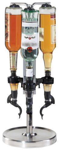 """Buy Oggi Professional Revolving Liquor Dispenser online and save! Oggi' s Professional Revolving Liquor Dispenser with """"Soda Fountain Action Pumps"""" holds three bottles and features an easy push and pour acti. Alcohol Dispenser, Liquor Dispenser, Beer Dispensers, Make Your Own Wine, Bar Gifts, Bottle Rack, Soda Fountain, Liquor Bottles, Wine Charms"""