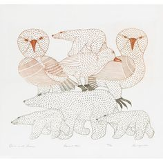 by Kenojuak Ashevak (one of the most notable Canadian pioneers of modern Inuit art). There is an exhibition of her work on currently at the AGO. Arte Inuit, Inuit Art, Native Art, Native American Art, Illustrations, Illustration Art, Art Gallery Of Ontario, Collages, Spirited Art