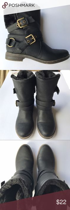 FINAL PRICE • JustFab • black winter boots Stylish black boots with gold colored details. Faux fur in some areas. Slight heel on these elegant shoes. Great for cold weather! JustFab Shoes Winter & Rain Boots