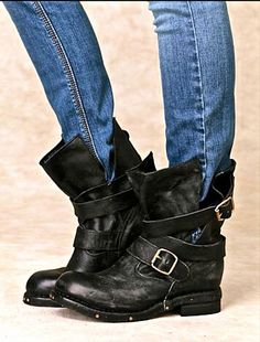 NWB $255 Free People Jeffrey Campbell black oiled Buckle Wrap Moto Boots 7 #JeffreyCampbell #wrapbuckleBoots #Casual