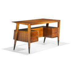 Gio Ponti Desk.  1950 for Singer & Sons.  Italian walnut and brass. 50.5w x 25.5d x 29.25h