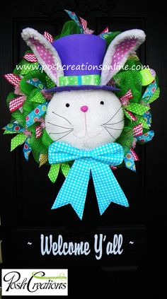 Bunny Wreath Bunny Top Hat Easter Bunny Wreath by PoshcreationsKY